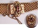 Victorian 10kt rose gold garnet slide bracelet Earrings
