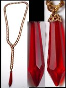 LONG vintage RED Glass DROP fancy necklace
