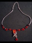 RICH RED DROP necklace UNUSUAL CHAIN PRETTY
