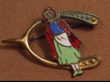 English ENAMEL SIGned REd RIDING HOOD PIn
