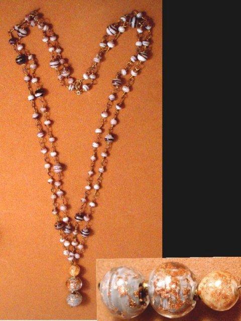 Venetian foil Glass Hand blown necklace