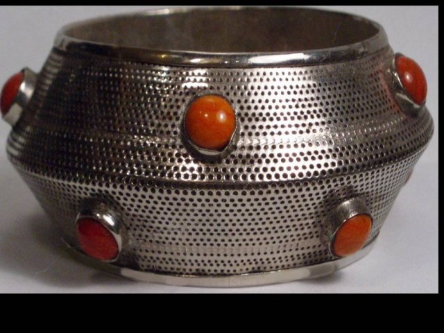 Funky modernist CORAL CABaCHON WIDE BANGLE bracelet
