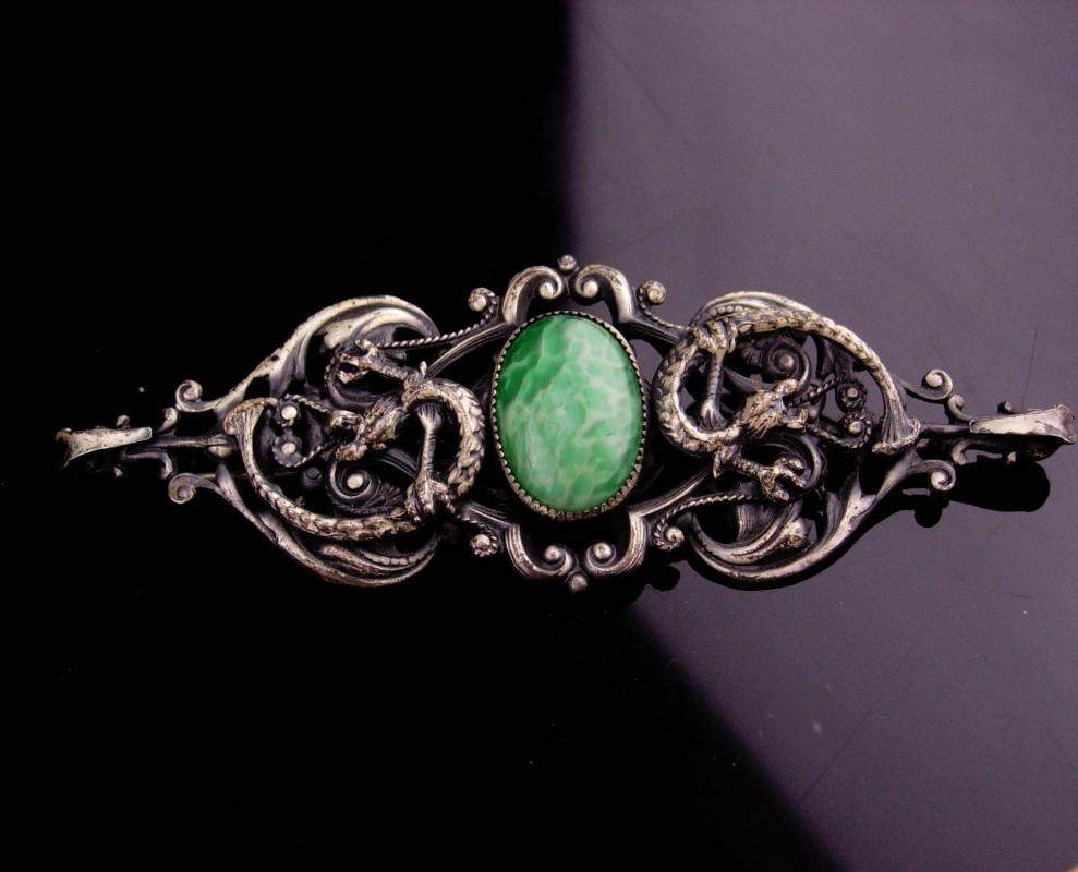 Antique DRAGON Brooch / Peking glass / Baroque victorian jewelry / mythical creature brooch / Medieval pin / renaissance brooch