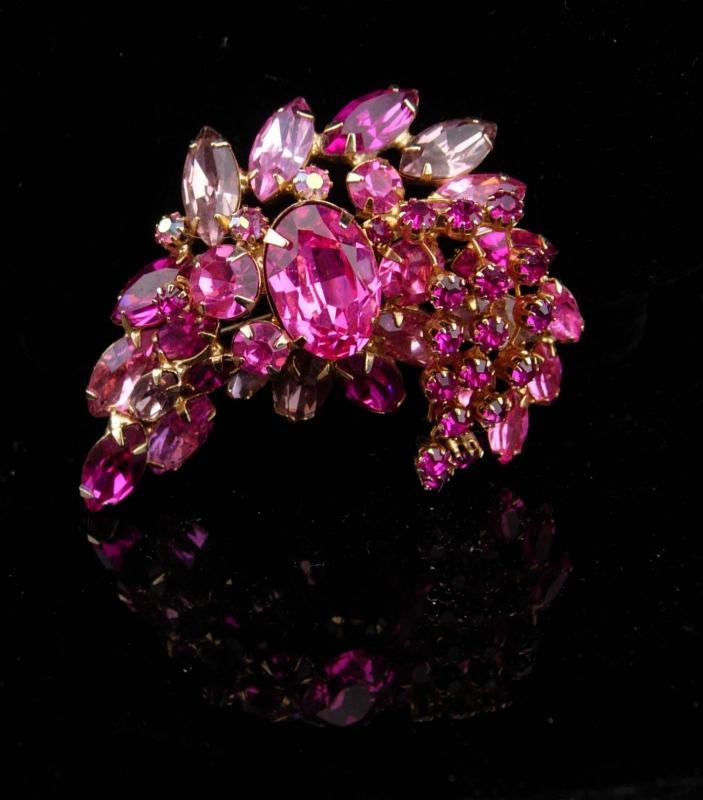 Huge Pink Brooch / unsigned beauty / Vintage layered Brooch / rhinestone pin / statement piece / estate jewelry
