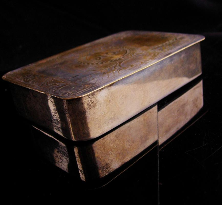 Large Antique silver box / 1914 Christmas box / Vintage French box / belgium / trinket box / cufflinks case / card box cigarette accessory