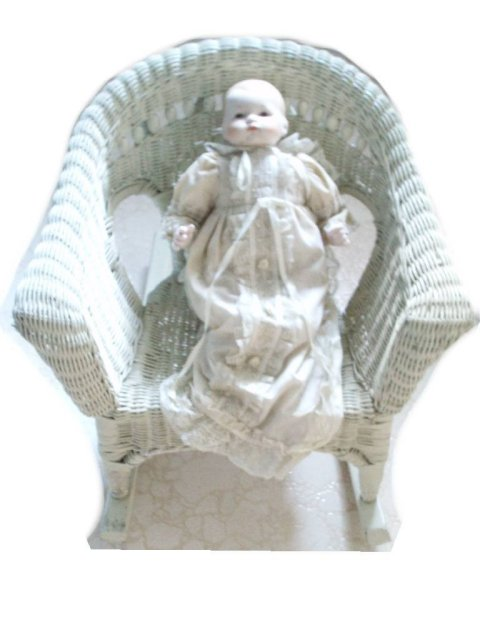 OLD Child DOLL Victorian WIcker Rocking Chair