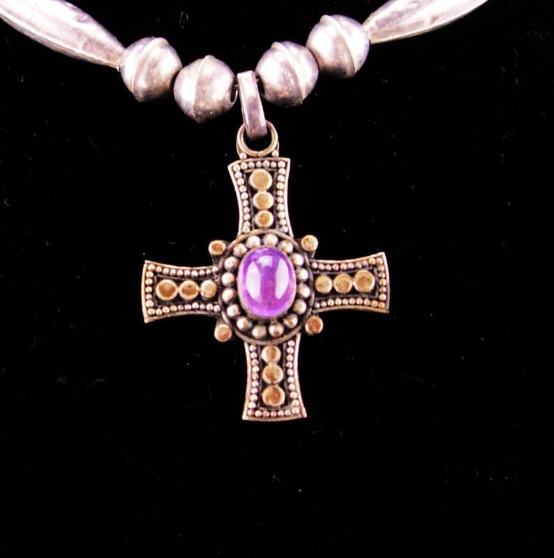 vintage Gothic cross necklace / Sterling choker / amethyst cross / statement necklace / genuine Amethyst /  medieval jewelry hand made beads
