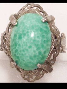 Antique Bizarre MEDUSA Snake peking glass RING
