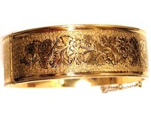 Victorian Gold & Enamel WIDE ornate bracelet