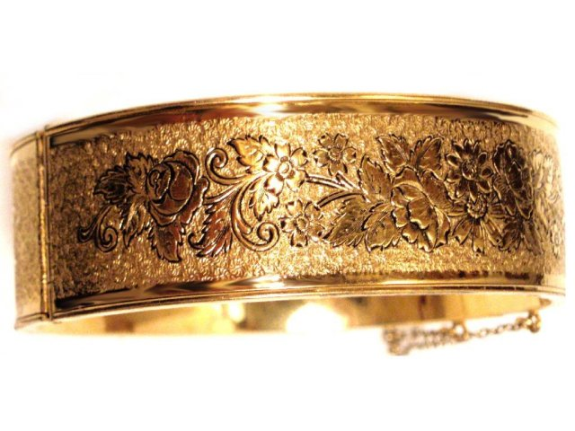 Victorian Gold & Enamel WIDE ornate bracelet