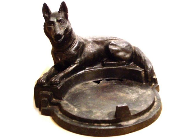 Antique Bronze German Shepherd snuff or tray