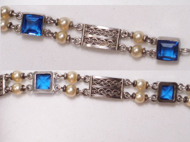Antique Edwardian PEARL BLUE faceted Stone