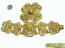 HUGE ORNATE ETRUSCAN GILT DEMI PARURE Bracelet