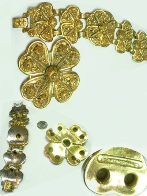 HUGE ORNATE ETRUSCAN GILT DEMI PARURE Bracelet