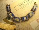 ANtique Deco  ENAMEL FIGURAL Egyptian Bracelet Cleopatra and the pymamids