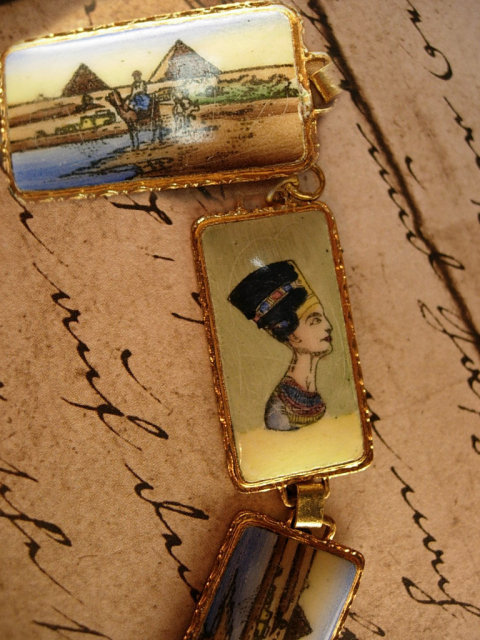 VIntage Grand TOUR Egyptian enamel BRacelet Figural and deco enamel