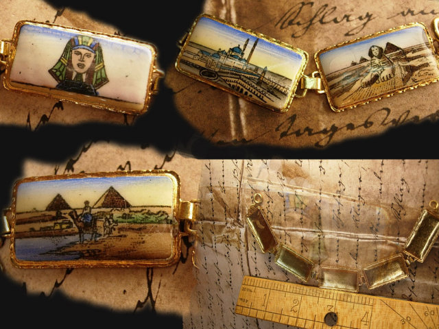 VIntage Grand TOUR Egyptian enamel BRacelet Figural and deco enamel