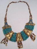 deco 20's Egyptian HEAD enamel Collar NEcklace
