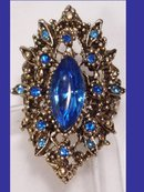 HUGE fancy BLUE RHINESTONE baroque RING