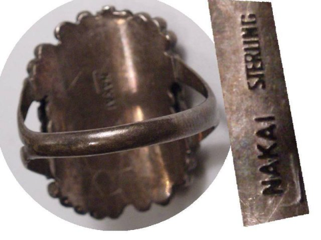 STUNNING SIGNED Nouveau LEAF Nakai RING
