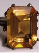 10CT Imperial CITRINE ART DECO sterling BIG
