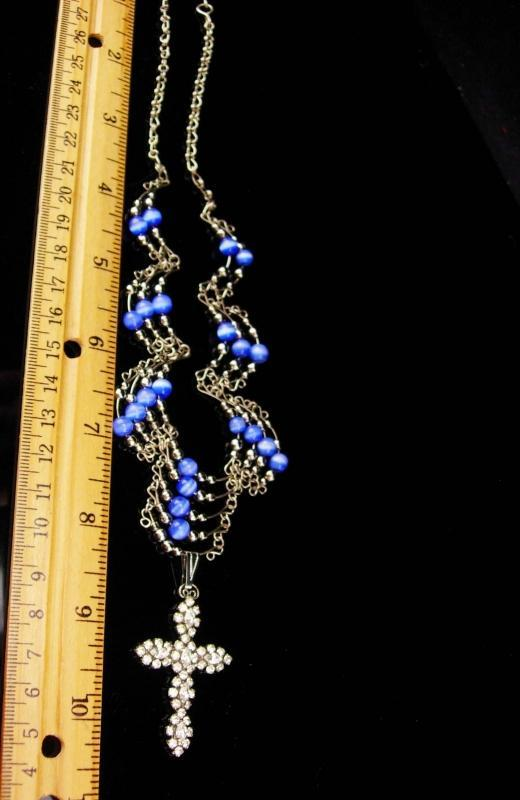 Medieval cross necklace / blue cats eye / religious jewelry / vintage bib necklace / chandelier jewelry / rhinestone pendant /gothic jewelry