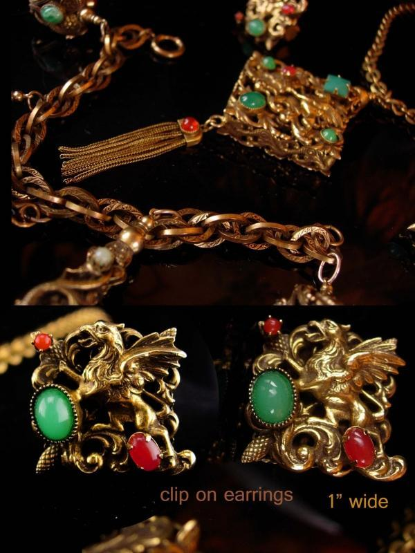 Vintage dragon parure / dragon fob necklace / mythical dragon bracelet / Victorian fob charms / dragon clip on earrings / Gothic necklace