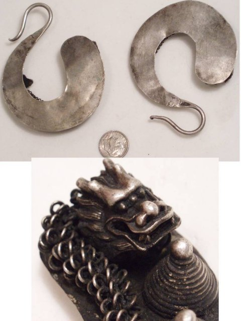 PRIMITIVE Wrought Chinese DRAGON EARRINGS