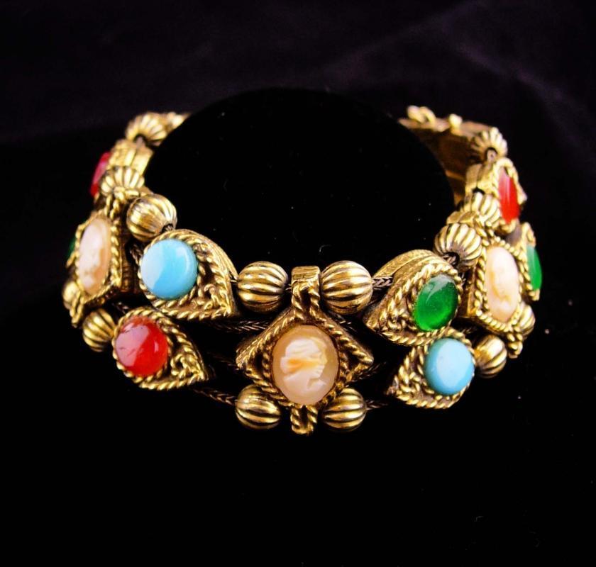 Vintage Victorian slide bracelet / Double row bracelet / cameo bracelet / Gold charm bracelet