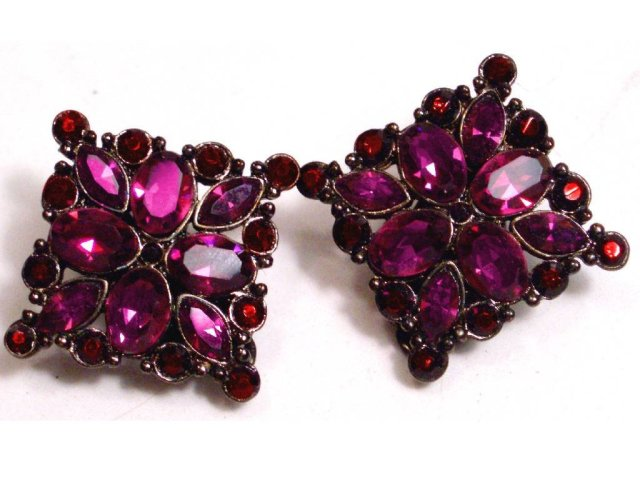 Weiss BLACK enamel Fucshia RED DIVA earrings