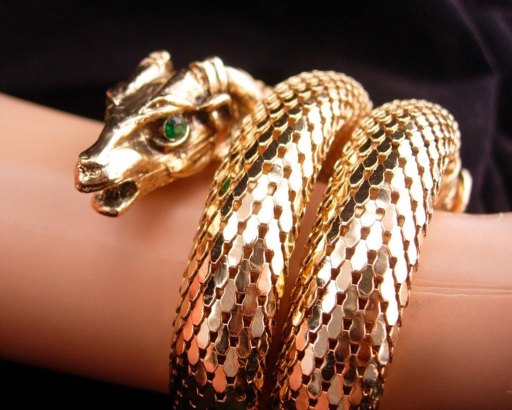 Vintage Gothic Head snake bracelet / THICK gold mesh / mythical ram / Exotic three coils / unsigned whiting and davis / rhinestone eyes