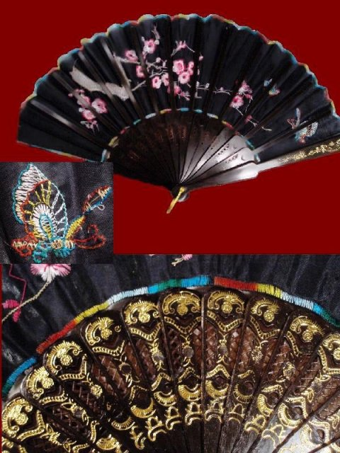 Vintage silk Chinese Embroidered lotus blossom fan
