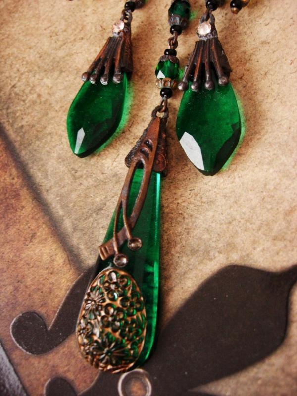 Antique Art Nouveau necklace HUGE Mermaid centerpiece / chandelier drops czech Rhinestones  /Vintage czech glass statement piece
