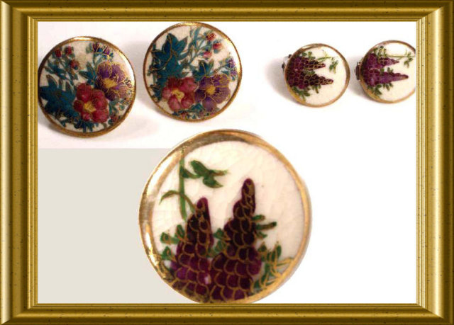 Vintage handpainted SATSUMA Earrings BUTTONS