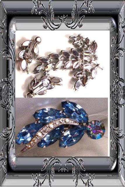 SIGNED Vintage WEISS BLUE Brooch Earrings BOOK