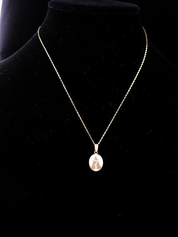 Antique Icon necklace / 14kt gold Infant of prague  / Hungarian Enamel / vintage Portrait  / religious necklace