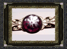 Antique RUSSIAN arts Crafts Inlaid amethyst PIN