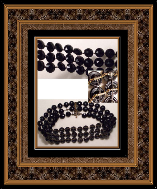 1800's GEORGIAN JET Mourning 3 row necklace