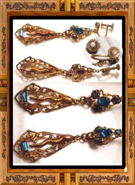 DECO Czech SIGNED SNAKE Jeweled earrrings