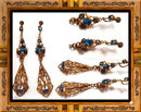 DECO Czech SIGNED SNAKE Jeweled earrrings