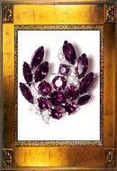Vintage Signed Purple Rhinestone Eisenberg PIN