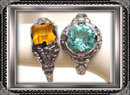 2 1920's ART DECO FANCY STONE filigree RINGS