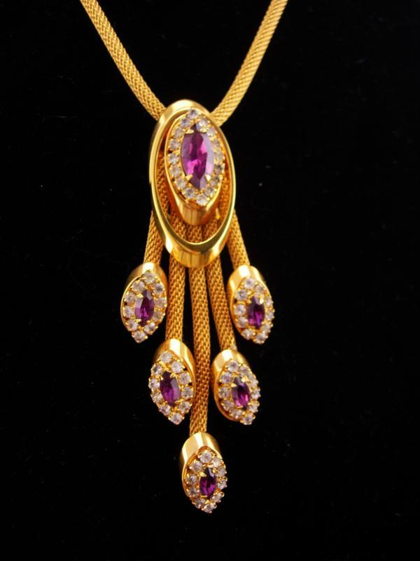 Stunning Vintage rhinestone necklace / Purple tassel drops / amethyst color rhinestones / Mesh gold necklace / estate jewelry