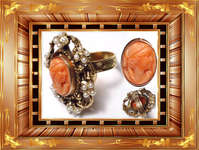 14kt rose gold coral Cameo Victorian pearl RING