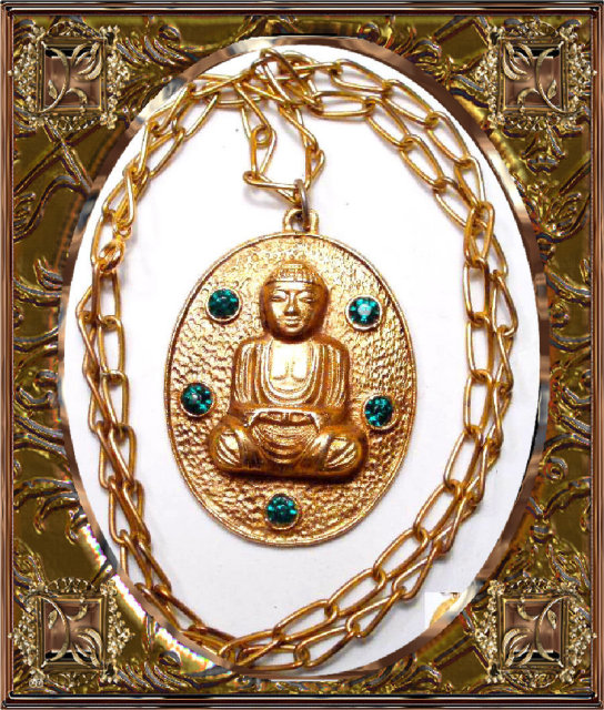 Vintage Jeweled Buddha Necklace Large Chinese Oriental Rhinestone Asian Pendant