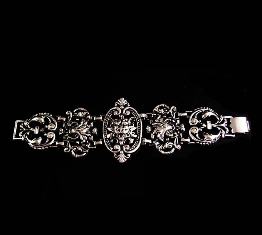 Antique bracelet / silver Gothic lion bracelet / Medieval jewelry / gargoyle Lion / FLEUR DE LIS / wide Victorian Relief / statement jewelry