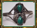Vintage SIGNED Sterling Malachite  bracelet