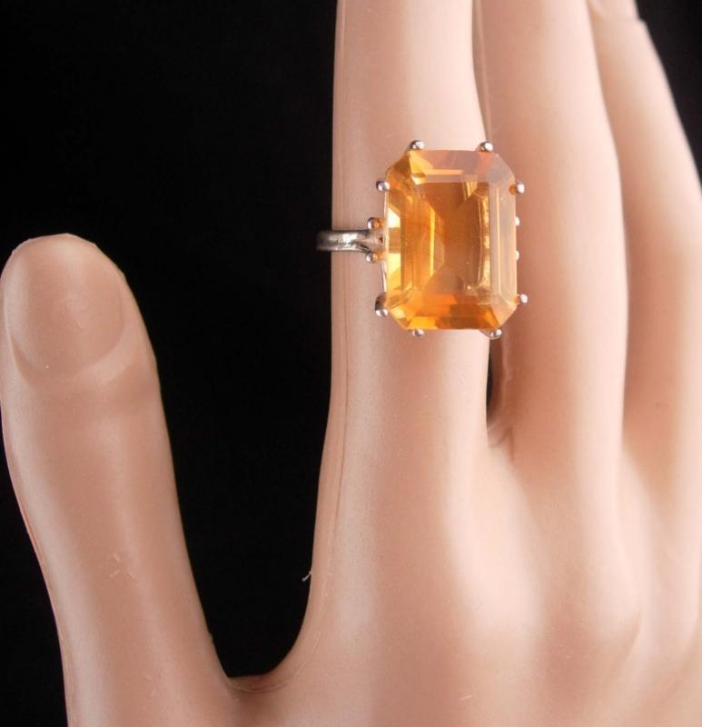 10CT Imperial Citrine ring / huge ring / size 6 1/2 / sterling cocktail ring / 13th 17th anniversary November gemstone sagittarius scorpio