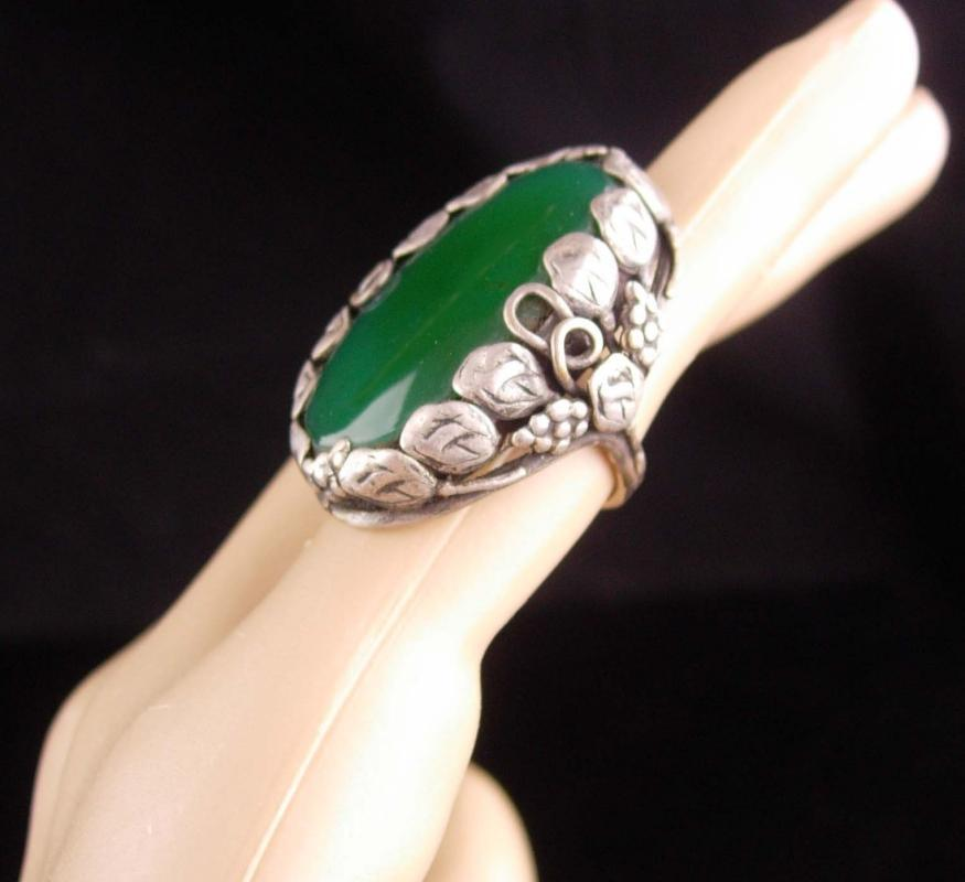 Antique Ring / green Chrysoprase / NOUVEAU jewelry / vintage Sterling DECO Ring / Huge setting / size 2 3/4 / good luck gift
