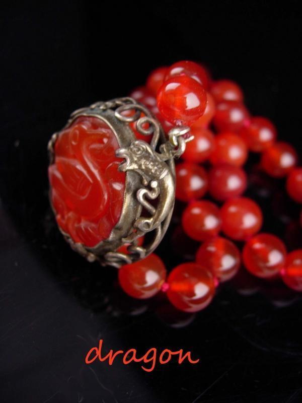19th CENTURY DRAGON choker / antique SNAKE Necklace / vintage Carnelian Chimera / Antique jewelry / asian carved clasp / chinese oriental